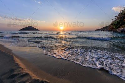 Paradise beach at sunrise. Greece