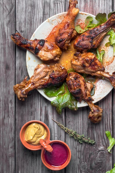 Hot and spicy drumsticks above