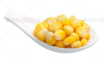 Spoon of canned sweet corn, paths