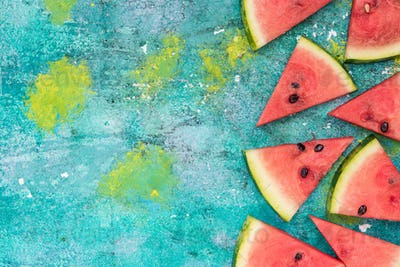 Watermelon slices, border background