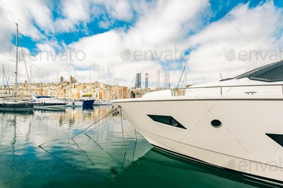 Luxury yacht in Malta marina