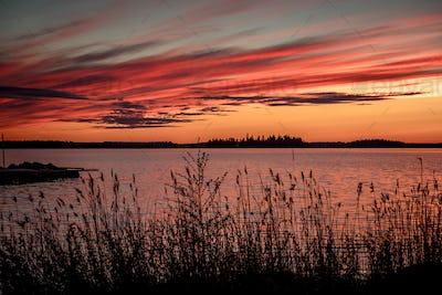 Crimson sunset on the background of the Gulf of Bothnia