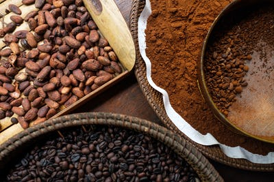 Different types of coffee beans on the plates