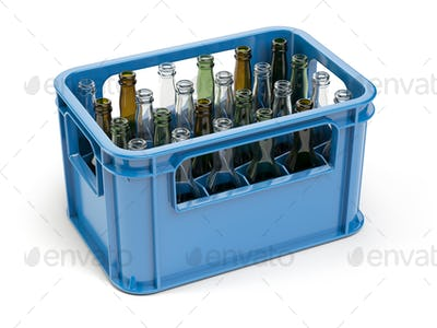 Empty bottles  in the strage crate for bottles. Glass recycling