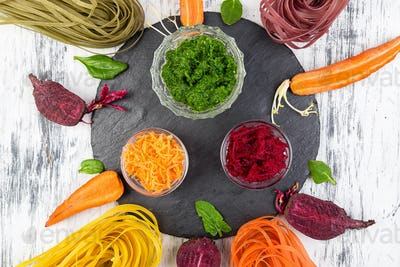 Colored Raw Vegetable Vegetarian Pasta.
