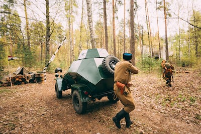 Re-enactor Dressed As Soviet Russian Red Army Infantry Soldier O