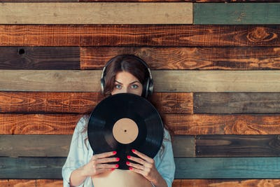 Woman with a phonograph record