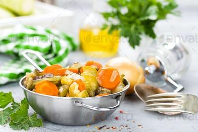 Vegetable stew. Baked vegetables. Vegetarian food