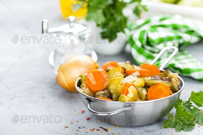 Vegetable stew. Baked vegetables. Vegetarian food