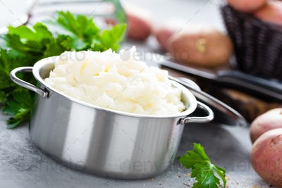 Mashed, mash potato with butter and milk. Potato puree