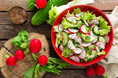 Vegetarian vegetable salad of radish