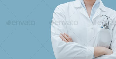 Professional doctor with stethoscope close up