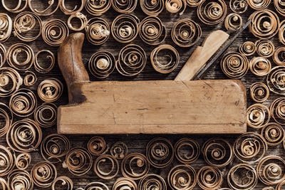 Old wood planer and shavings