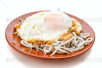 fried egg with baby eels isolated on white