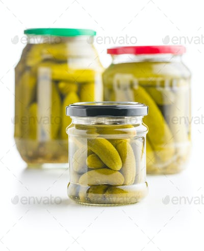 Preserved cucumbers. Tasty pickles.