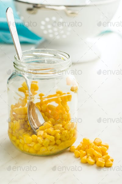 Corn seeds in jar.