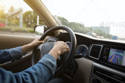 Driving in city with GPS navigation