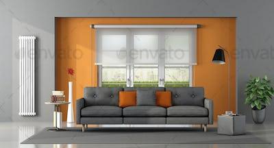 Gray orange living room