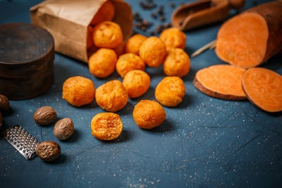 Mashed sweet potato balls
