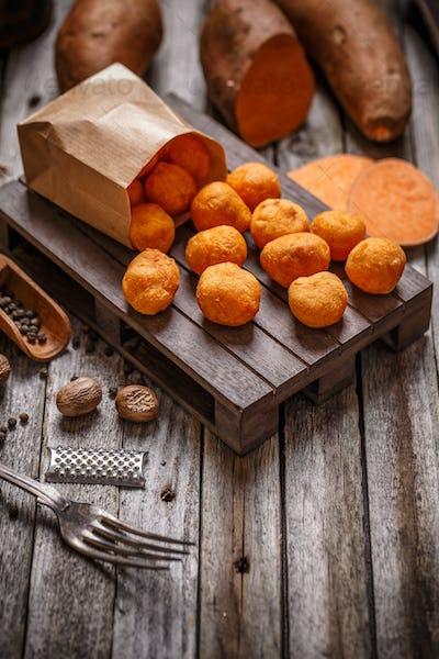 Homemade sweet potato croquettes