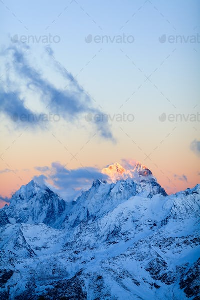 Mountains landscape Ushba Caucasus in Russia