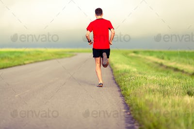 Man running and training healthy lifestyle