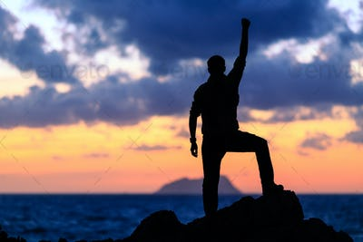 Happy success winner, life goal achievement