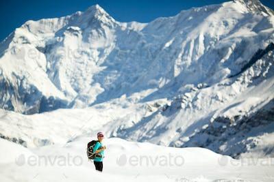 Hiking happy woman in Himalaya Mountain