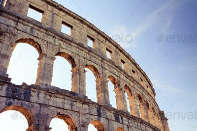 Roman amphitheater arena, ancient coliseum architecture in Pula