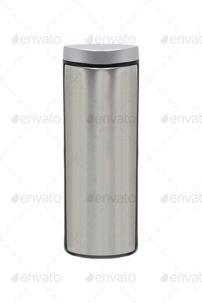 metal thermos. isolated on white