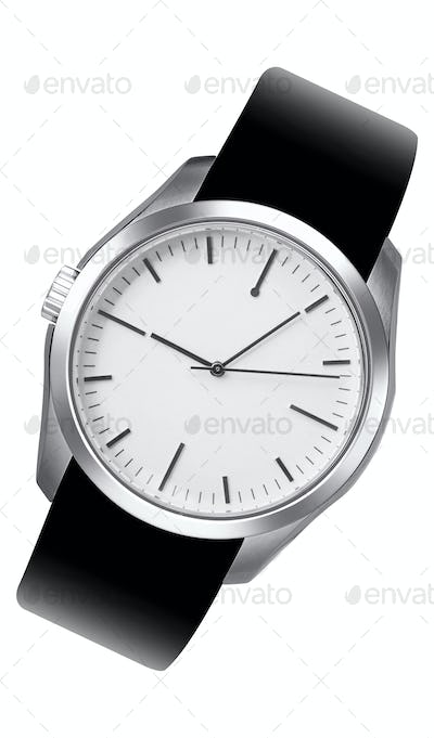 Silver watch isolated on white background