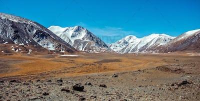Snowy mountains. Russia, Siberia, Altai mountains, Chuya ridge.