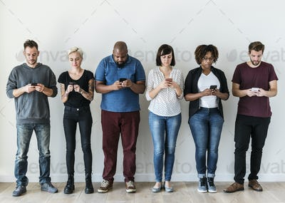 Group of people using mobile phone