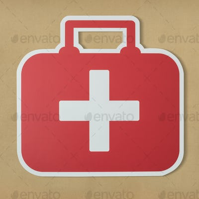 First aid bag paper craft icon