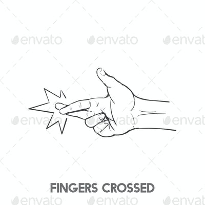 Cross your fingers idiom vector