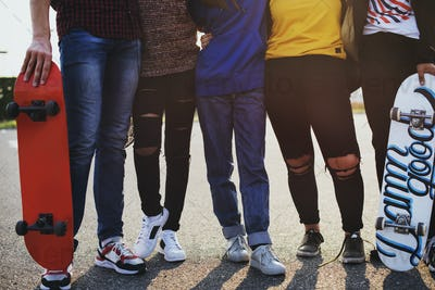 Legs closeup of group of school friends outdoors lifestyle