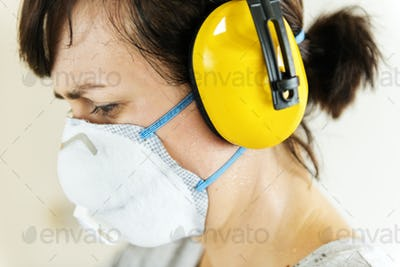 Woman wearing ear protection