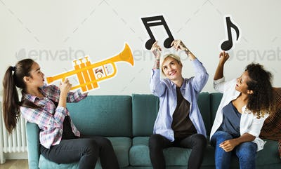 Group of people enjoying music icons