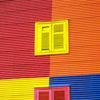 One of the colorful facades of La Boca
