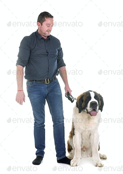 young saint bernard and owner