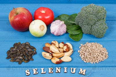 Products and ingredients containing selenium and dietary fiber, healthy nutrition