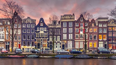 Canal houses on the Brouwersgracht in Amsterdam in vintage tonin