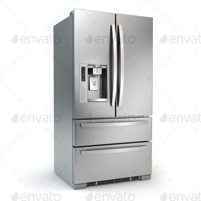 Fridge freezer. Side by side stainless steel refrigerator  with