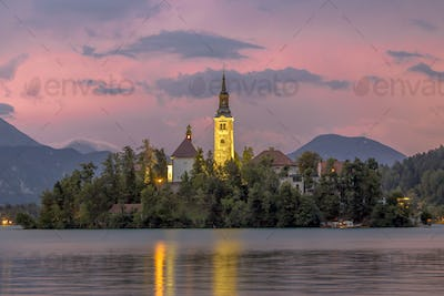 Landscape scene Lake bled with church on island