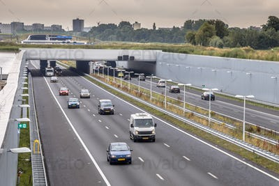Afternoon traffic on motorway in Randstad