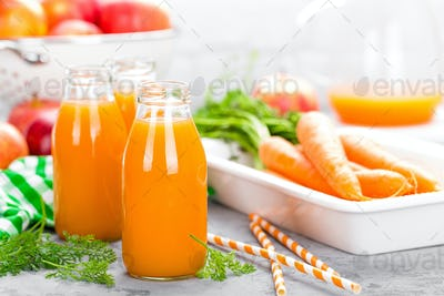 Fresh carrot and apple juice
