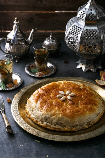 Fresh baked Moroccan chicken pastilla or bastilla