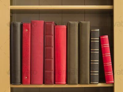 Books in a bookshelf
