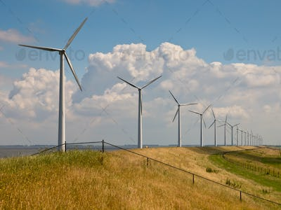 Row of wind turbines with fence
