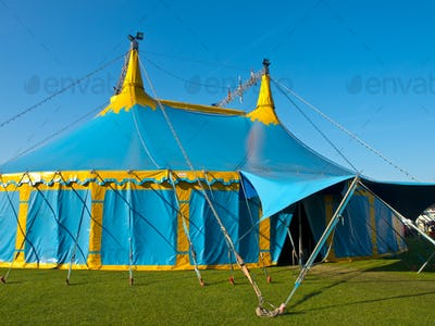 Blue and yellow big top circus tent